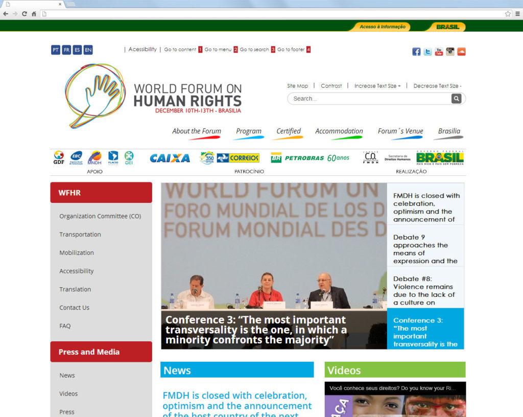 Site do Fórum Mundial dos Direitos Humanos
